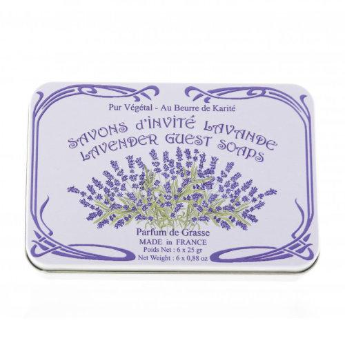 Naturseife 6x25 g Tin Box Lavendel