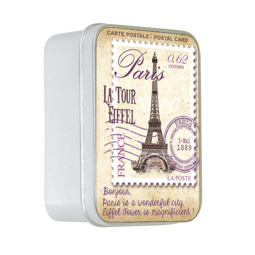 Naturseife 100 g Tin Box Carte Postale Paris